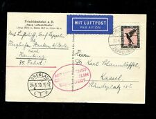 Zeppelin Sieger 69AC Silesia circuit flight  Breslau drop on B/W Zep ppc