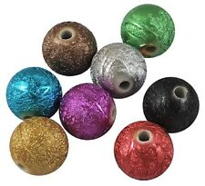 20 Drawbench Acrylic Beads 12mm - Round Foil Finish Metallic Mixed Colour PB84