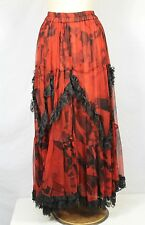 Vintage URU Red Black Hand Dyed USA Made Ruffle Maxi Lace Trim Skirt One Size OS