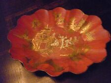 ANTIQUE 19TH C VICTORIAN PAPIER MACHE RED CHINOISERIE TRAY HTF! VGC! A FIND!