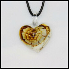 Fashion Women's heart lampwork Murano art glass beaded pendant necklace #A27