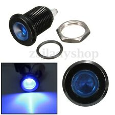 15mm Screw Shape Black Shell Blue LED Metal Indicator Light Pilot Dash Lamp 12V