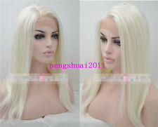 Heat Resistant Straight Hair Lace Front Wigs White Blonde Synthetic Full Wig