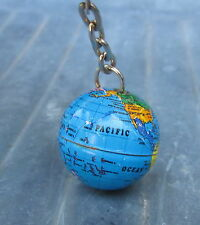 OLD VINTAGE PLANET EARTH TERRESTRIAL GLOBE WORLD MAP TIN TOY MODEL KEYCHAIN