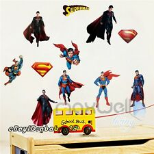 10pcs Superman Super Hero Logo  Wall Decals Stickers Kids Art Boy Birthday Decor