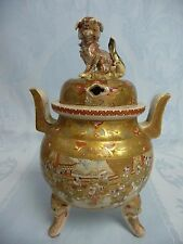 "ANTIQUE JAPANESE SATSUMA CENSER w/TEMPLE DOG/LION, 9"" TALL, HAND PAINTED DESIGN"