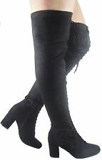 LADIES WOMEN OVER THE KNEE THIGH BOOT FRONT LACE UP LOW BLOCK HEEL SHOES SIZE3-8