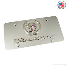 Cadillac Chrome Logo + Name On Polished Steel License Plate