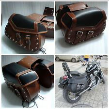 Braiding  Studded Motorcycle Leather Saddlebags Motorbike Panniers Pairs Luggage
