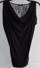 EXPRESS black sleeveless pullover top w/ draped neck & lace upper back, Size XXS