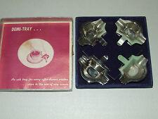 Vintage 1950's Art Deco Demi-Tray Clip On Coffee Cup Ashtray Set w/ Original Box