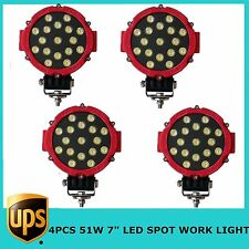 "4X51W 7"" LED Work Light SPOT RED Color Round Offroad Driving 4WD Boat UTE JEEP"