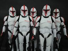 5x Star Wars Clone Trooper clonetrooper Red 6 inch custom made loose figure