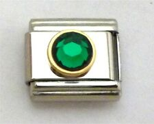 9mm Classic Size Italian Charms Round Gold trim Birthstone May Emerald