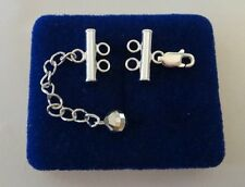 2 Strand Sterling Silver Lobster Clasp w/ 4.5mm Extension for Bracelet Necklace