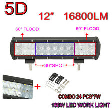 5D 12Inch 16800LM 168W OSRAM Led Work Light Bar Combo Spot Flood Offroad 4X4WD