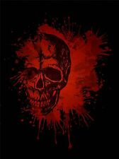ART PRINT POSTER PAINTING DRAWING DESIGN PAINT SPLASH RED CREEPY SKULL LFMP0655