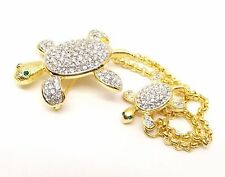 Joan Rivers Sea Turtle Duet Pin Pair Brooch Baby Mom QVC Swarovski Crystal Pave