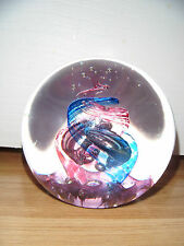 Selkirk Glass Paperweight ~ Masquerade ~ Purple & Blue Swirls ~ Signed ~ Label