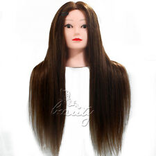 "26"" 80% Long Hairdressing Cut Mannequin Real Human Hair Training Head Salon NEW"