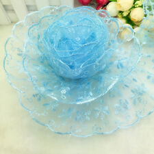 NEW Hot 5 Yards 65mm Sky Blue Organza Lace Gathered Pleated Sequined Trim