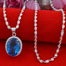 Jewelry Fashion 925 silver  sapphire zircon  Pendant  gift for women N-205