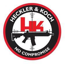 """HECKLER & KOCH FIREARMS NO COMROMISE 4"""" DECAL STICKER HK PISTOL GUN RIFLE"""