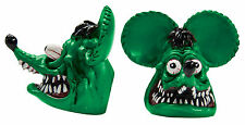 Green Rat Fink LP Bolts Pair Mooneyes Moon License Plate Chevy Ford Mopar Dodge