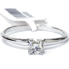 1/3Ct Round Solitaire Diamond Engagement Ring 14K White Gold Created Carbon