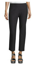 EILEEN FISHER BLACK WASHABLE STRETCH CREPE STRAIGHT ANKLE PANTS MEDIUM PETITE