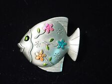 """JJ"" Jonette Jewelry Silver Pewter 'Bright Floral FISH' Pin"