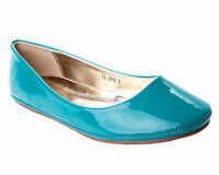 WOMENS TURQUOISE PATENT FLAT DOLLY BALLET PUMPS SHOES LADIES UK SIZE 3-8