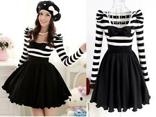 Trendy Japan Dolly Gothic Punk Lolita Baby DOLL BOW Princess Stripe Dress M