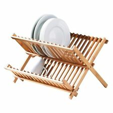 FOLDABLE WOODEN KITCHEN SINK DISH DRAINER FOLDING WOOD PLATE CUPS DRYING RACK