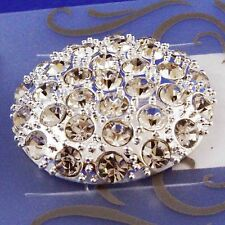 Large Diamante Encrusted Silver-coloured Button