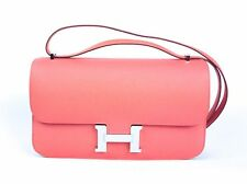 New HERMES CONSTANCE ELAN BAG 25cm FLAMINGO PINK ORANGE RECEIPT