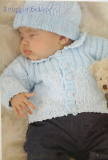 Baby's Cardigan, Hat and Bootees Knitting Pattern