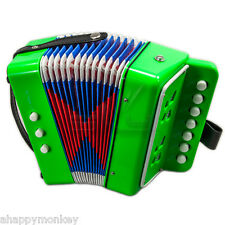 ��Great Gift�� Accordion Bright Green 7 Button 2 Bass Kid Music Instrument