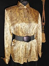Starington Sz 10 NWOT Silk Satin Blouse Snakeskin Print Gold Brown USA Seller