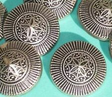 """Set 9 INTRICATE Antiqued Silver MeTaL FLOWER Vintage New Buttons 1 & 1/8"""" LARGE"""