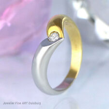 Ring in 750 GG/WG mit 1 Diamant ca. 0,08 ct. W-si