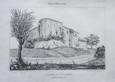 Lithographie XIXème - Château de Biscaétan - Bordeaux - L.Vairon - J.Philippe