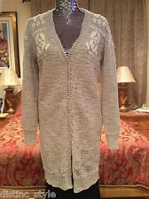 ICONIC Brunello Cucinelli woven w/embroidery at bust/shoulders cream cardigan