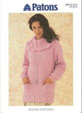 "PATONS KNITTING PATTERN 5353 DK - LADIES TUNIC SWEATER JUMPER 34""- 44"" Free post"