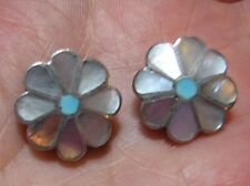 VINTAGE NATIVE AMERICAN, M.O.P. SILVER & TURQUOISE CLIP EARRINGS 6.5 grams