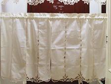 Elegant Pair of Hand Battenburg Lace Beige Cotton Curtains