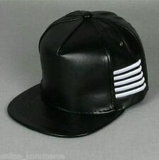 Black Leather Snapback Hiphop Cap