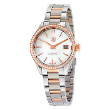 Tag Heuer Carrera Mother of Pearl Dial Diamond Bezel Steel and 18kt Rose Gold