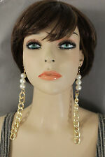 New Women Extra Long Gold Metal Chain Fashion Jewelry Earrings Set Pearl Beads