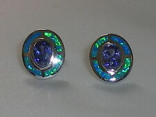 Art Deco Ladies Sterling 925 Silver Opal & Tanzanite Target Design Earrings